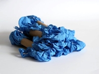 Εικόνα του Shabby Crinkled Seam Binding Ribbon - Blue Jeans