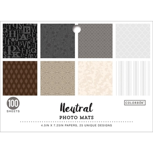 """Picture of Colorbok Designer Paper Photo Mats 4.5""""X7.25"""" - Neutral"""