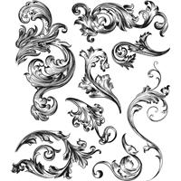 """Εικόνα του Tim Holtz Σετ Σφραγίδες 7""""X8.5"""" - Scrollwork"""