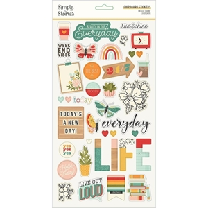 """Picture of Simple Stories Hello Today Chipboard Αυτοκόλλητα 6""""X12"""""""