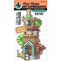 Εικόνα του Art Impressions Critter Cubbies Σετ Σφραγίδες & Μήτρες Κοπής - Hamster Wheel