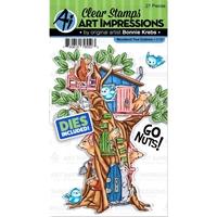 Εικόνα του Art Impressions Critter Cubbies Σετ Σφραγίδες & Μήτρες Κοπής - Woodland Tree