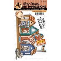 Εικόνα του Art Impressions Critter Cubbies Σετ Σφραγίδες & Μήτρες Κοπής - Dog House