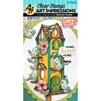 Εικόνα του Art Impressions Critter Cubbies Σετ Σφραγίδες & Μήτρες Κοπής - Birdhouse