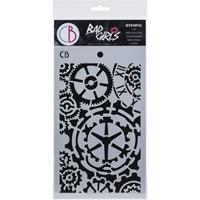 """Εικόνα του Ciao Bella Bad Girls Texture Stencil 5""""X8"""" -  Gears"""