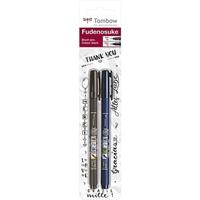 Εικόνα του Μαρκαδόροι Καλλιγραφίας Brush Tombow Fudenosuke Brush Tip Set - Black